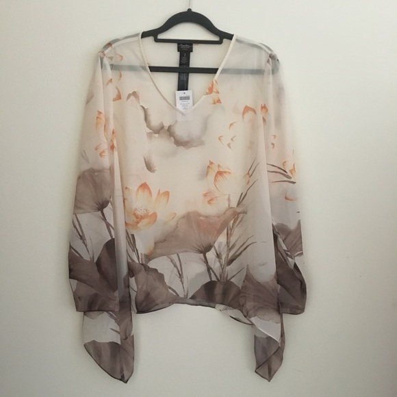 Chico's Tops - Chico's Travelers Sheer Floral Print Top sz S (1)